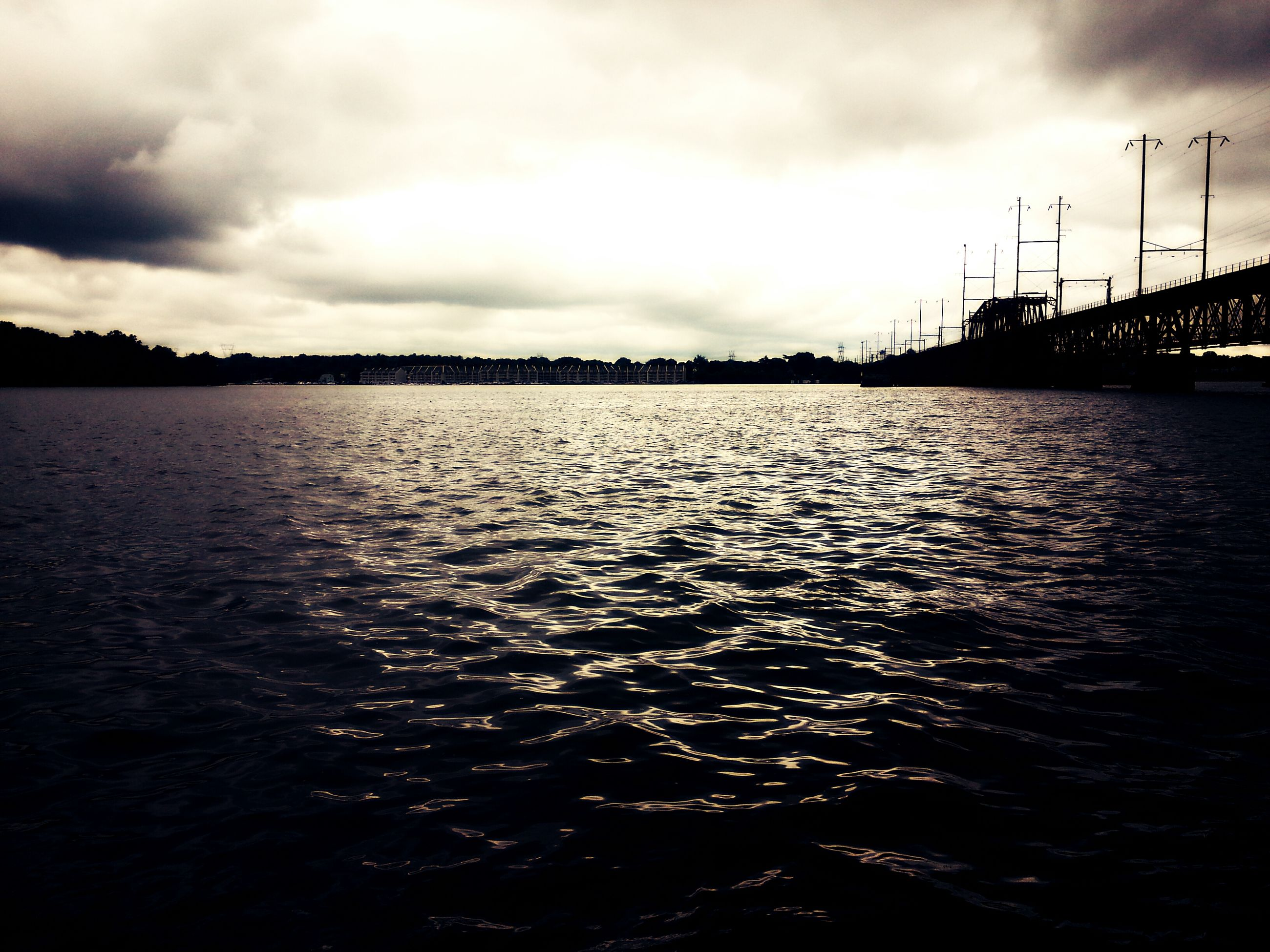water, sky, sunset, cloud - sky, waterfront, sea, built structure, silhouette, cloudy, scenics, dusk, tranquil scene, cloud, tranquility, nature, architecture, beauty in nature, reflection, rippled, pier