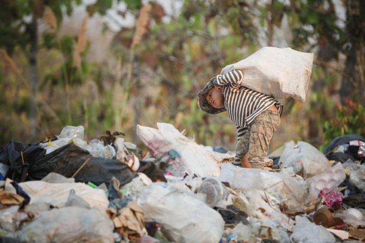 Close-up of garbage on ground