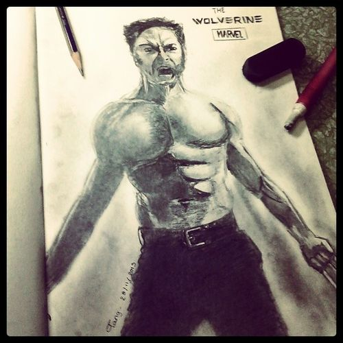 90min with HB pencil The_wolverine Logan Xmen Asianboy pencil_drawing hb_pencil