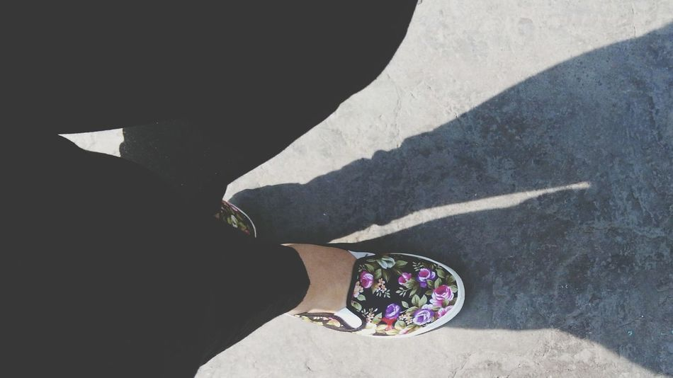 Black Pants Shoes Girl Color Flowers Legs Day Sun Shadow Streetphotography