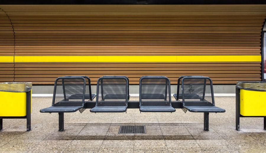 Empty Seats At Subway Station