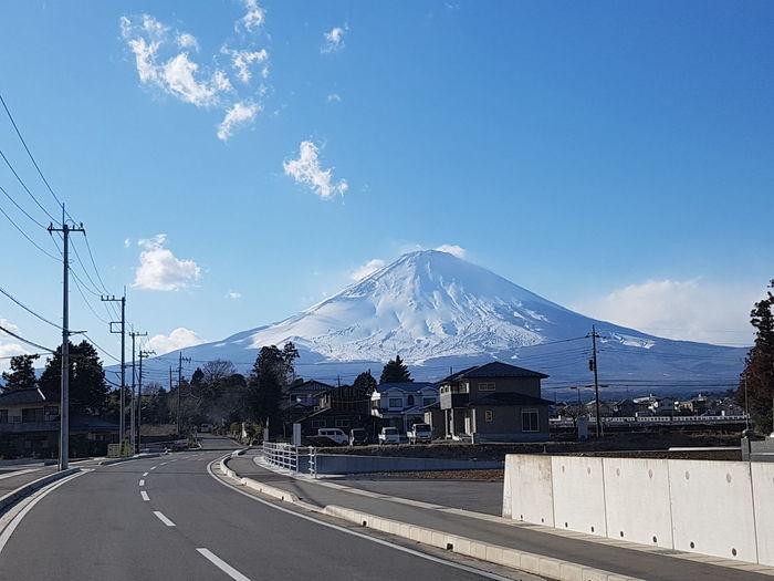 fujisan Mountain Snow Road Snowcapped Mountain Road Trip Sky Landscape Mountain Range Cloud - Sky
