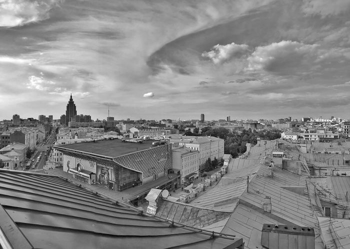 Moscow June 2018 Daytime Moscow City Moscow Sky Collection Skyline Sky And Clouds Cloudscape Clouds And Sky Black Color Black And White Photography Rooftop View  Rooftop Urban Photography Urban Geometry Urban Landscape Urban Skyline Built Structure Building Exterior Architecture Sky Cloud - Sky Building City Cityscape Day TOWNSCAPE Community
