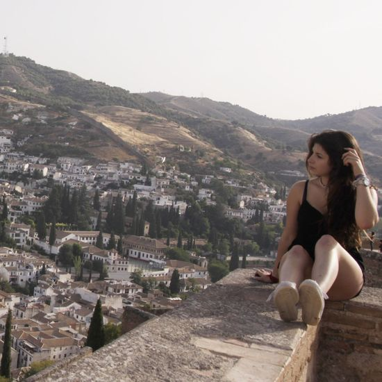Granada Mountain Young Women Young Adult Casual Clothing Clear Sky Tranquility Vacations Beauty In Nature Person Day Leisure Activity Lifestyles Mountain Range Long Hair Scenics Sitting Missing Summer Taking Photos Traveling Spain ✈️🇪🇸 Granada, Spain Summer Memories 🌄 Alhambra De Granada  Hi! Lovely