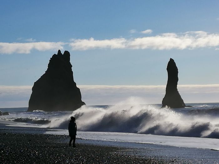 Iceland_collection Iceland Memories Iceland Icelandtrip Vik Reynisfjara Reynisdrangar Iceland Memories Nature Sea Wave Horizon Over Water Women Scenics Beach Rock - Object Water Beauty In Nature One Person