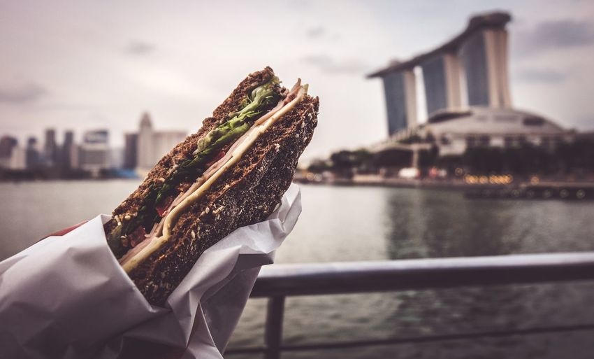 Lunch Time 🥖 Sandwich Time Sandwich Singapore Lunch Singapore Lunchtime Lunch Time! Snacktime Snack Time! Lunch Architecture Water Built Structure River City Holding Building Exterior Nature Bridge Day Sky Real People Food And Drink Bridge - Man Made Structure Travel Lifestyles Focus On Foreground Hand Outdoors
