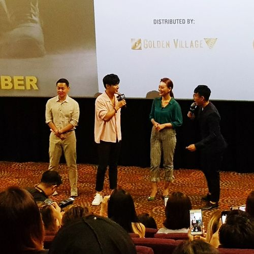 Far left Director Jason Kim and second from left, Actor Kang Ha-neul Gala Premier Movie Preview Midnight Runners 31 August 2017 Singapore South Korean Movie Korean Actor