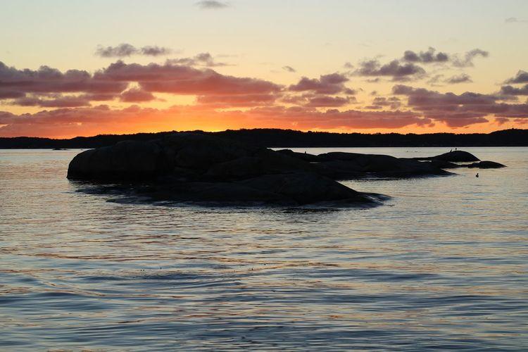 My evening sunset No Edit/no Filter Sweden EyeEm Selects October Water Sea Life Sea Sunset Beach Coast Calm Coastline Rocky Coastline Coastal Feature Ocean Seascape Shore