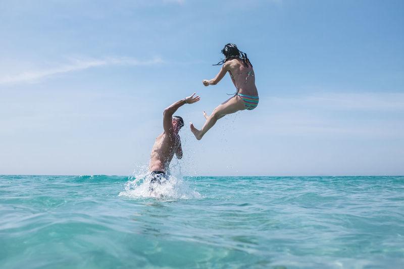 Friends having fun in the water