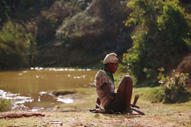 Resting farmer