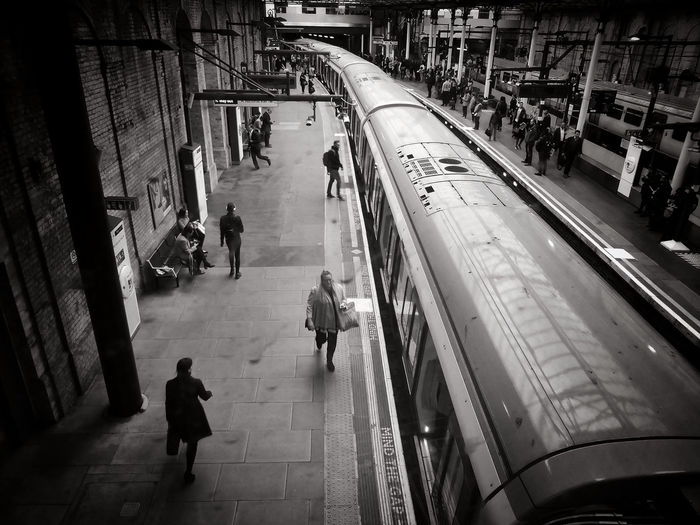 High angle view of people at railroad station platform