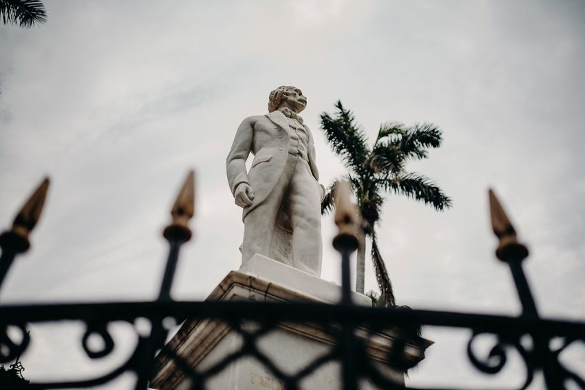 This man Carlos Manuel de Céspedes (what a long name) is a freedom fighter. This monument of him can be found in the old town of Havana. Freedom Human Representation Low Angle View Art And Craft Sky Sculpture Representation Statue