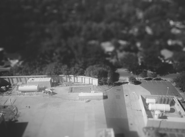 Trees Construction Construction Site Construction Machinery No People Black & White Black And White Photography Black And White Container Propane Tank Trees In Background Treescollection Tiltshift Tilt-shift Tilt Shift From Above