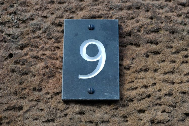 9 Numbers Only Close-up Day Nine No People Number Numbers Outdoors