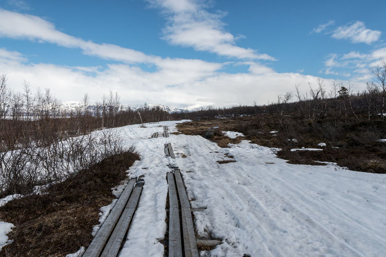 Spring Hike Abisko Abisko Beauty In Nature Cloud - Sky Cold Temperature Day Landscape Nature No People Outdoors Scenics Sky Snow Sweden Tranquil Scene Tranquility Tree White Color Winter