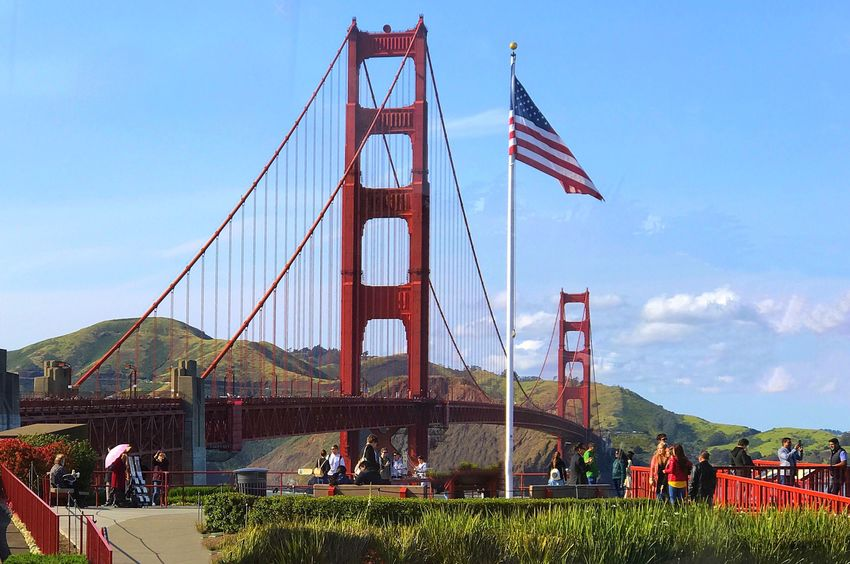 Sky Built Structure Connection Tourism Architecture Suspension Bridge Travel Outdoors Bridge - Man Made Structure Day Nature Travel Destinations Large Group Of People People Tourist Attraction  Golden Gate Golden Gate Bridge GoldenGateBridge Bridge Bridges American Flag