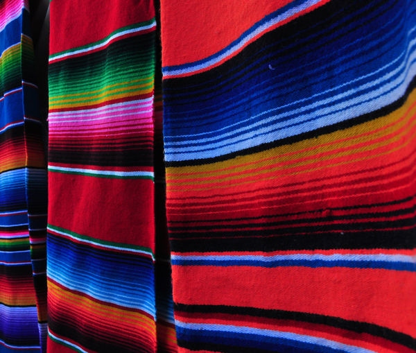 Colorful mexican rugs at display