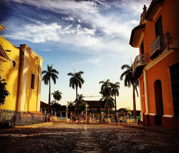Looking towards the Plaza Mayor and just taking in the incredible atmosphere! Sunset Sunset_collection Sunset Silhouettes Cityscapes Shadow Palm Trees Sky And Clouds Cuba Trinidad Cobblestone IPhoneography Enjoying The View Tranquil Scene Travel Photography Traveling Eye4photography  EyeEm Gallery Architectural Detail Urban Geometry Urban Landscape