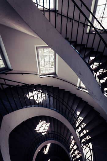 Spiral Stairway Architecture Built Structure Railing No People Steps And Staircases Low Angle View Spiral Indoors  Staircase Pattern Spiral Staircase Design Diminishing Perspective Day Indoors  Architecture_collection Building Modern Repetition Ceiling