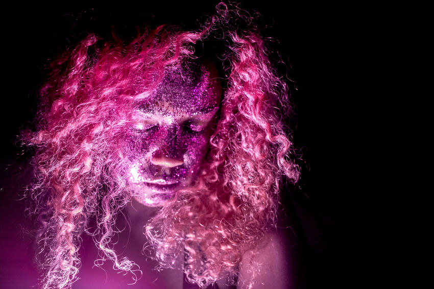 Dark Glitter Pink Close-up Colour Of Life One Person People Pink Hair Pink Hair Dont Care  Selfportrait
