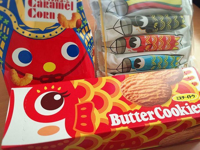 おやつ こどもの日 こいのぼり スナック菓子 きゃらめるこーん クッキー バタークッキー ミスターイトウ