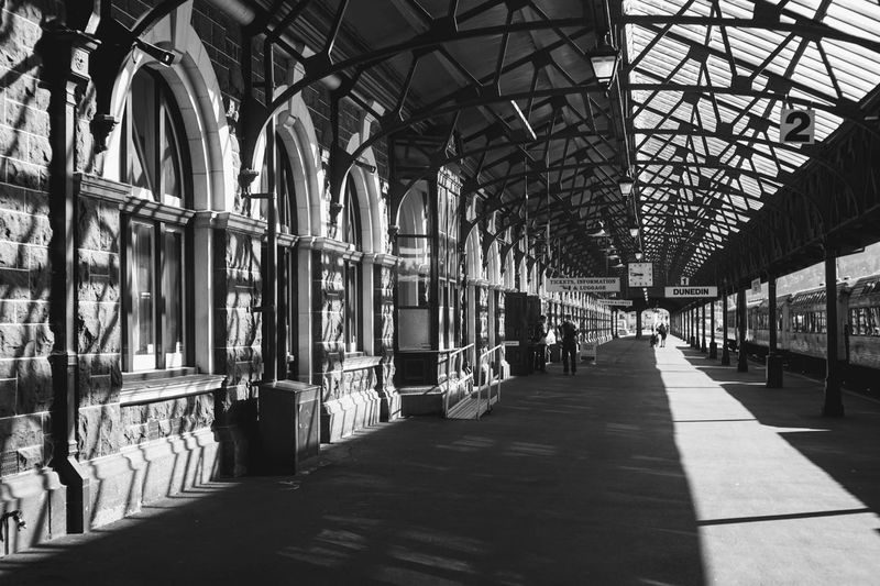 Interior of railroad station platform