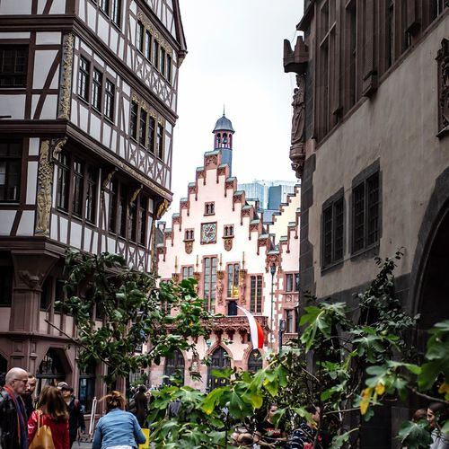 Römerberg Building Exterior Built Structure Architecture Group Of People Large Group Of People City Building Crowd Tree Day Low Angle View Text Real People Nature Women Men Plant Communication Christmas Celebration