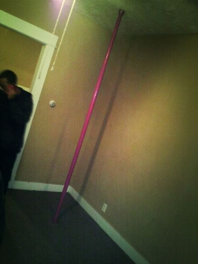 Stripper pole ready, party starts at 10