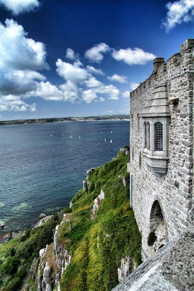 View Sea View Ocean Ocean View Fortress Fortress Wall Castle Cornwall St Michaels Mount National Trust Wall Stone Stone Wall Summer Summertime Holiday Vacation Seaside Island Sunshine Sailing Ships Boat
