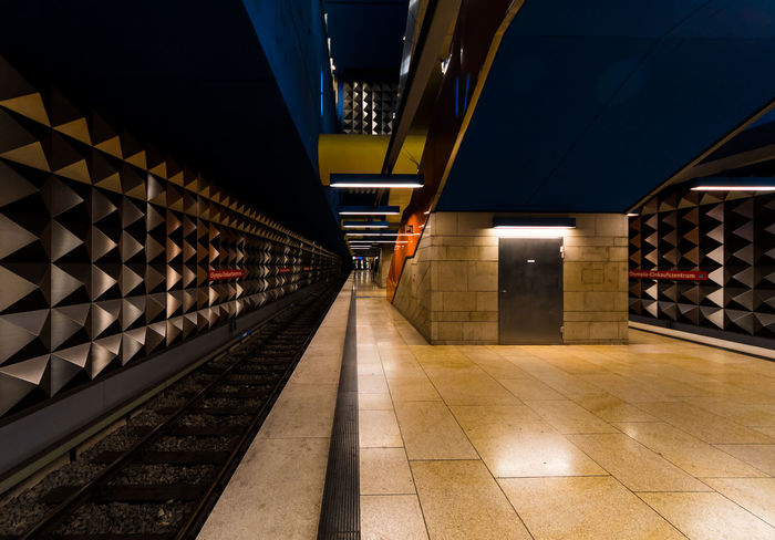 Colorful Germany Illuminated Modern Munich Reflection Subway Station Transportation U-Bahn U-Bahnhof Wide Angle