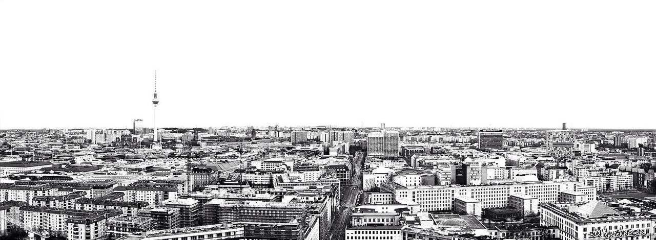 Berlin Black And White Panorama Skyline graue Stadt ohne Meer Shades Of Grey