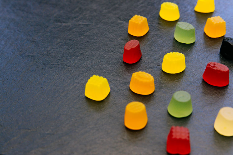Candy Sweets Dark Color Background Top View Above Minimal Food Abstract Pattern Bunch Group Sugar Pick Mix Iced Colorful Tasty Vibrant Green Yellow