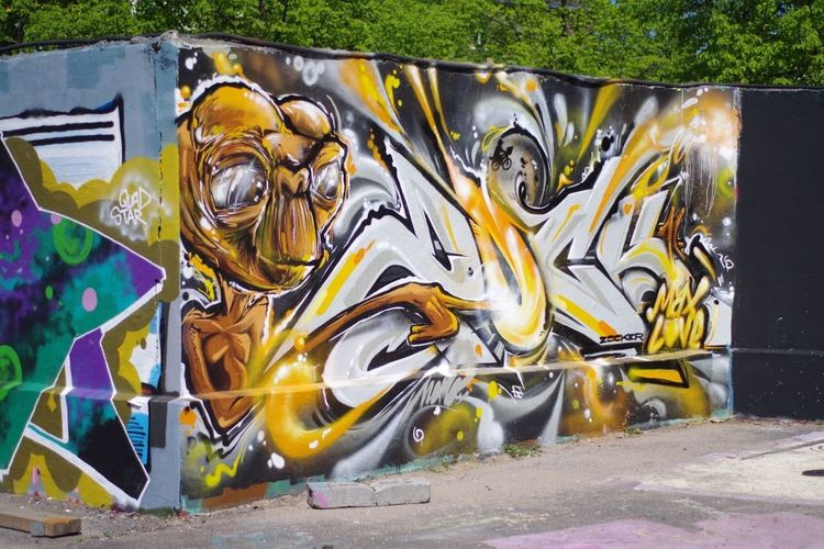 Close-up of graffiti on road