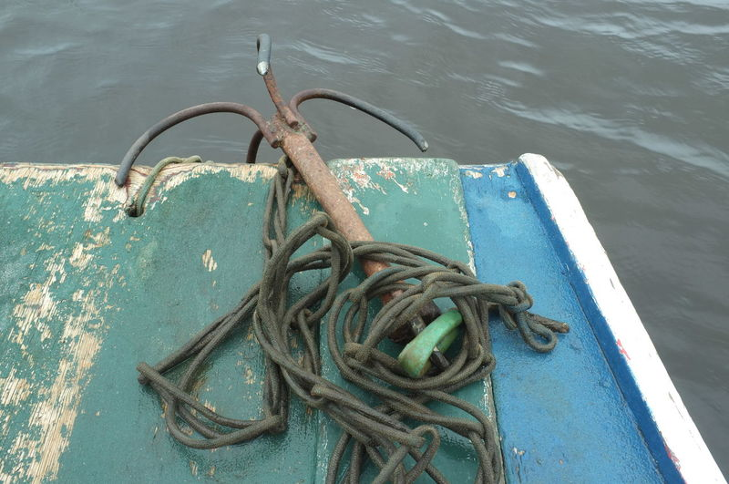 High angle view of anchor on boat