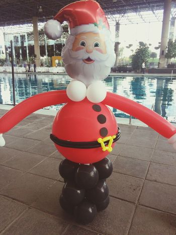Red Childhood Swimming Pool Day One Person Sculpture Outdoors Santa Claus Posada