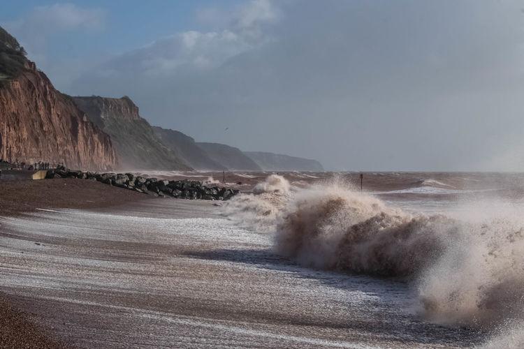 Wave rushing towards shore