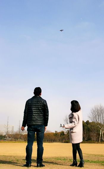 Kite Flying Playing Time Park Grass Couple Love Blue Sky Adult Fun Lover Happy Time Enthusiasm Exciting