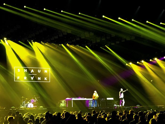 The Chainsmokers Concert Shaun Frank Performance Illuminated Real People Event Nightlife Music Yellow Lights Stage Light Crowd Audience Party Pop Dance Music Allstate Arena EyeEmNewHere Artbyart