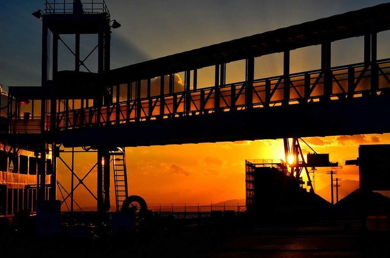 同じく熊本港 Sunset Architecture Built Structure Silhouette Bridge - Man Made Structure Sky D7200 Nikon D7200 熊本港 夕陽 夕日 熊本 Kumamoto Orange Color