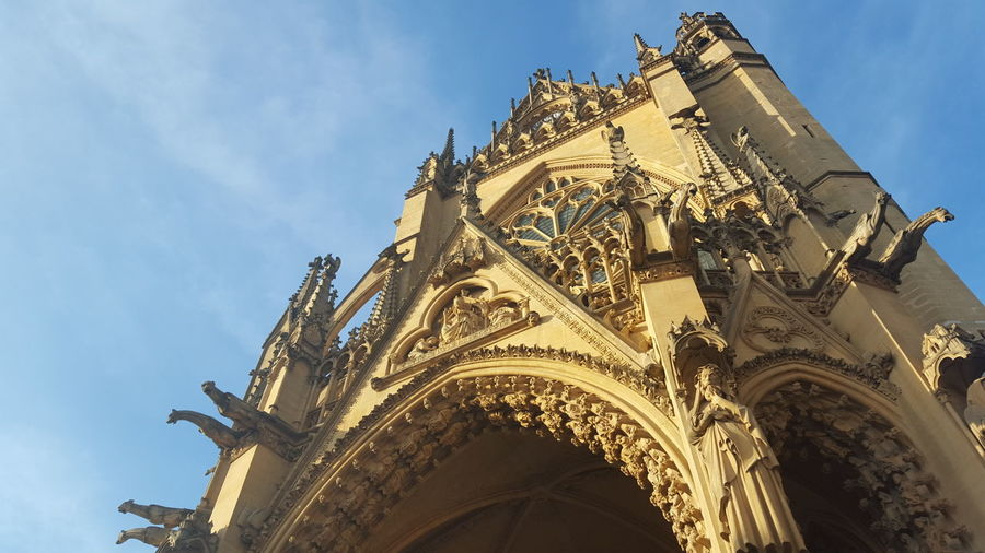 Architecture Built Structure Cathedrale Saint-Etienne Cloud - Sky Copper Roof Exterior France Gothic Gothic Architecture Gothic Church Historic Historical Building Lantern Of God Low Angle View Metz, France No People Ornate Outdoors Religion Stained Glass