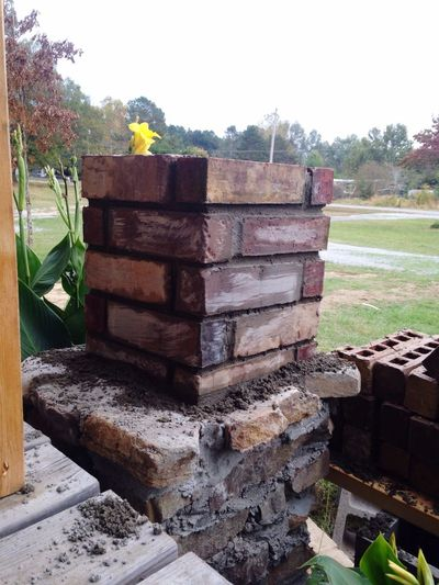 Colors and patterns Stack No People Nature Day Outdoors Tree Construction Work Concrete Work Brown Brick Red Bricks Close-up Architecture Built Structure Low Angle View Cloud - Sky Sky Brick And Mortar Construction Under Construction... Tree Day Lillys Yellow Flower Green Color