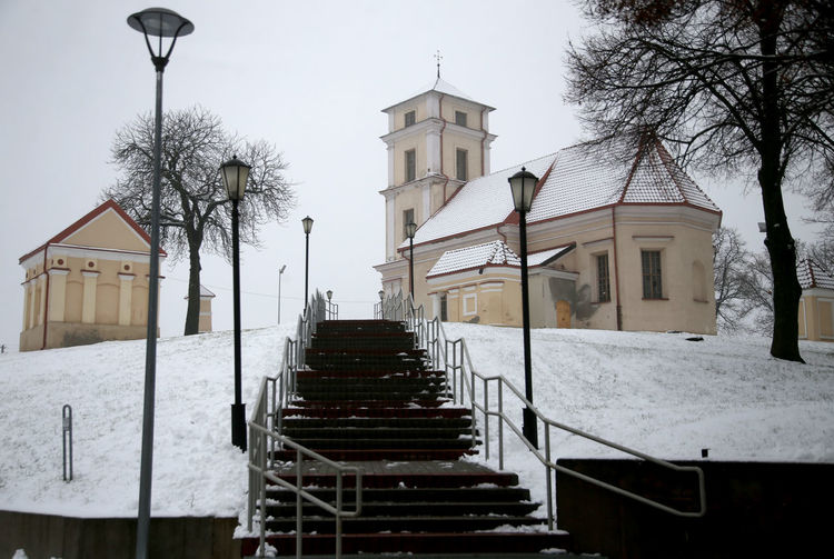 Church Kedainiai Old Town Lithuania Architecture Bare Tree Building Exterior Built Structure Cold Temperature Day Kirk Nature No People Outdoors Railing Sky Snow Staircase Steps Steps And Staircases Tree Winter