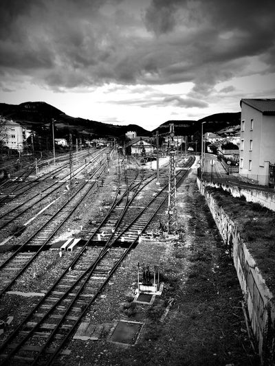 Train Station EyeEm Gallery Blackandwhite Photography Empty Places Bnw_collection Sky Cloud - Sky Architecture Built Structure Building Exterior Nature No People Tranquil Scene