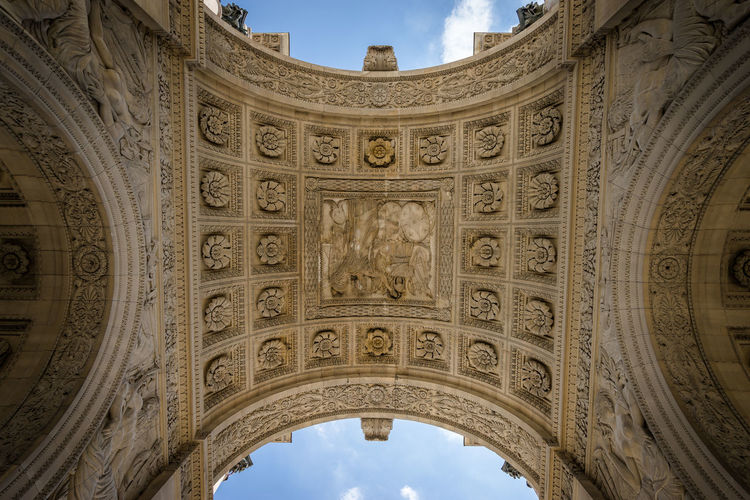 Directly below shot of triumphal arch