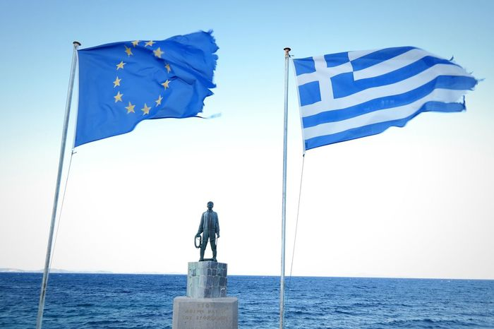 Greek Islands Chios Greece Greek'sdilemma National Flag Blueandwhite Bluesky Fisherman Fishermen's Life Identity Clouds And Sky