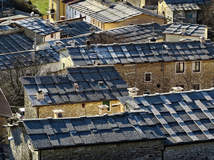 Architecture Culture And Tradition Mountain Village No People Outdoors Roofs Stone Material View From Above