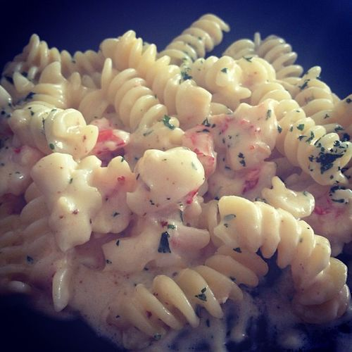 Cream pasta with lobster