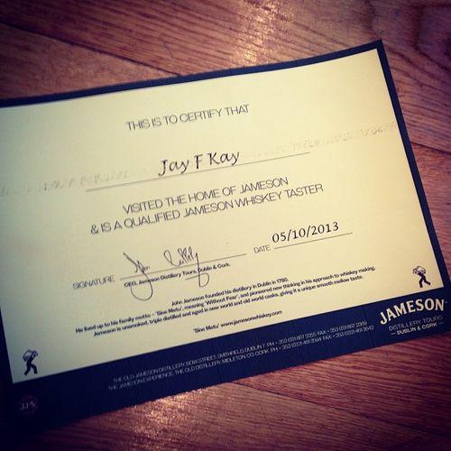 Certified by #Jamerson's... #tbex #tasteup Certificate Tasteup Lovedublin Travel Tbex Dublin Name Whiskeytbex Jameson Jamesondistillery Reisen Jamerson Distillery Taster Qualified Whiskeytaster Certified Jayfkay Hoomygumb Travelblog Travelblogger