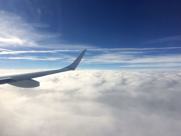 Sky And Clouds On The Plane Plane Flight From The Plane Window Blue Sky Plane Wing Through The Window Above The Clouds