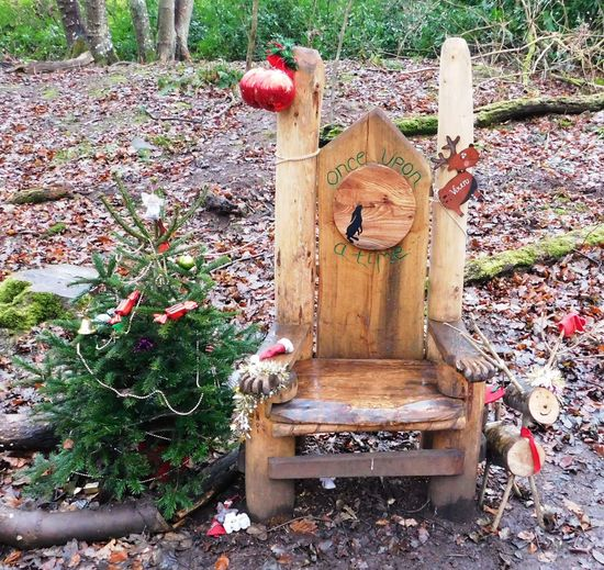 The magical fairy world found deep within Fullarton Woods, Troon, South Ayrshire, Scotland. Carved santa seat. Ayrshire, Scotland Animal Themes Beehive Christmas Tree Day Fullarton Woods Growth Nature No People Outdoors Santa Chair Troon Wood - Material